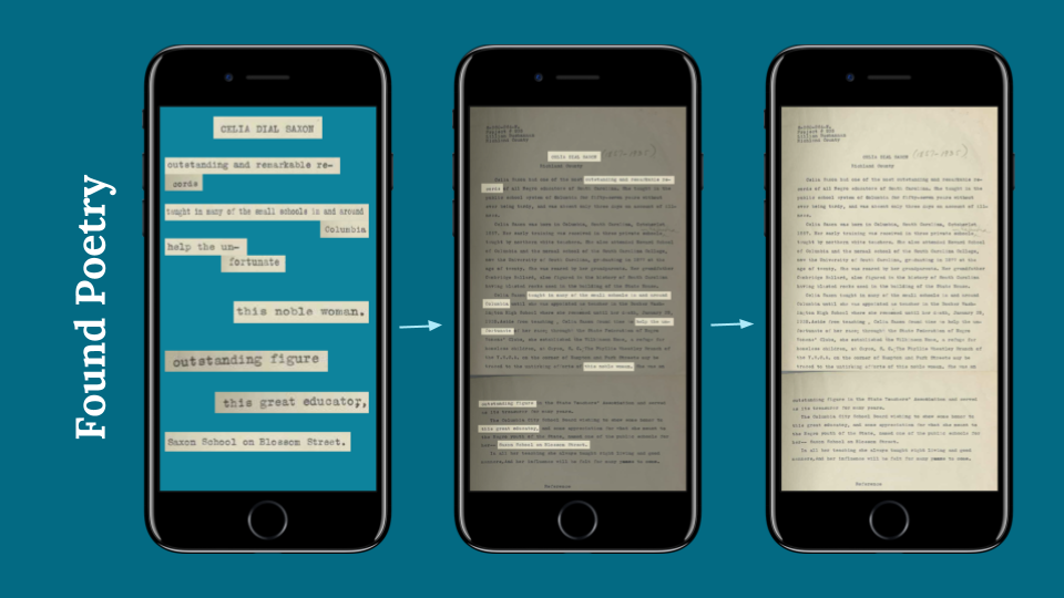 three iPhone screens. the first shows a found poem, the middle shows the words of the poem highlighted in a document, and the last shows the unmodified document.